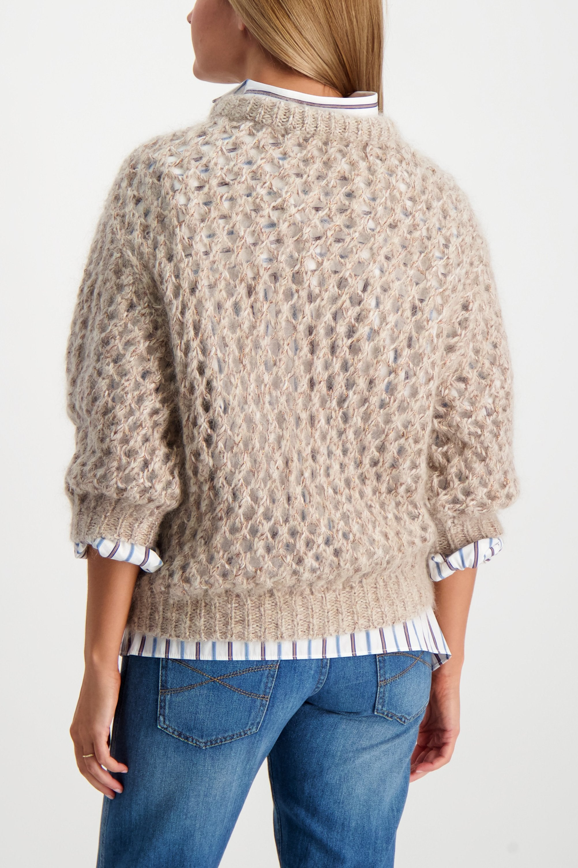 Back Crop Image Of Model Wearing Brunello Cucinelli Women's Mohair Cashmere Lurex Sweater