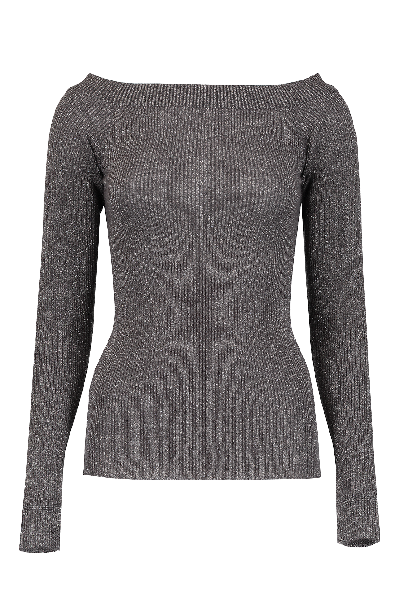 Mohair Lurex Off Shoulder Knit In Onyx