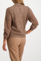 Back Crop Image Of Model Wearing Brunello Cucinelli Women's Mohair Lurex V-Neck Pullover