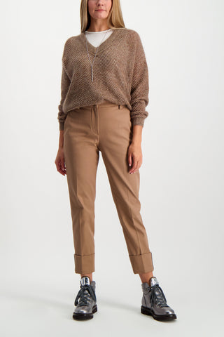 Full Body Image Of Model Wearing Brunello Cucinelli Women's Mohair Lurex V-Neck Pullover