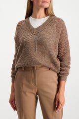 Front Crop Image Of Model Wearing Brunello Cucinelli Women's Mohair Lurex V-Neck Pullover