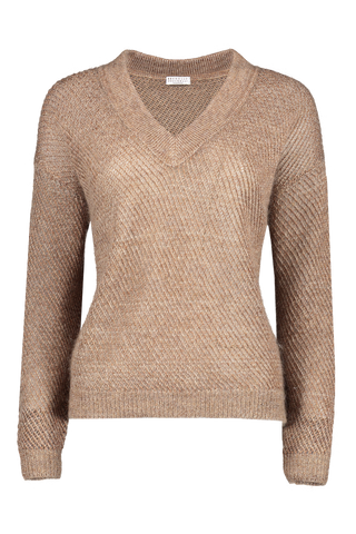 Front view image of Brunello Cucinelli Women's Mohair Lurex V-Neck Pullover