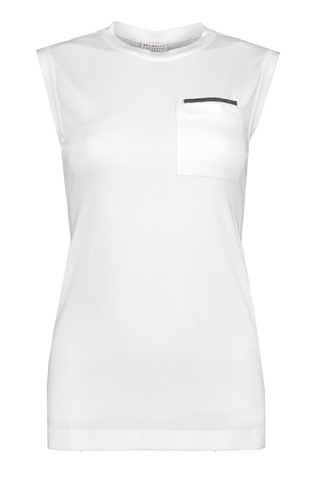 Front view image of Brunello Cucinelli Women's Monili Cotton Tank
