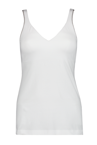 Front view image of Brunello Cucinelli Women's Monili Tank Top White