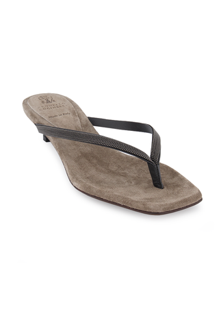 Front angled view image of Brunello Cucinelli Women's Monili Thong Kitten Heel Dark Grey