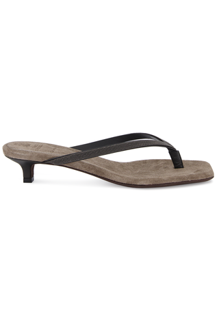 Side view image of Brunello Cucinelli Women's Monili Thong Kitten Heel Dark Grey