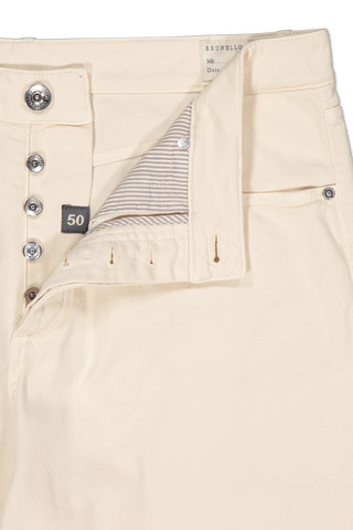 Waistline and zipper detail image of Men's Brunello Cucinelli White Denim Pants