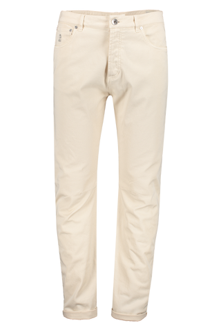 Front view image of Men's Brunello Cucinelli White Denim Pants
