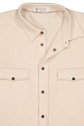 Front collar image of Brunello Cucinelli Men's Overshirt Tan