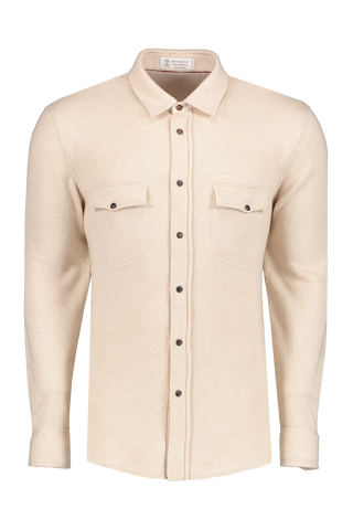 Front view image of Brunello Cucinelli Men's Overshirt Tan