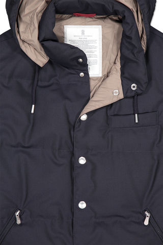 Neckline and hood detail image of Brunello Cucinelli Padded Down Vest Navy