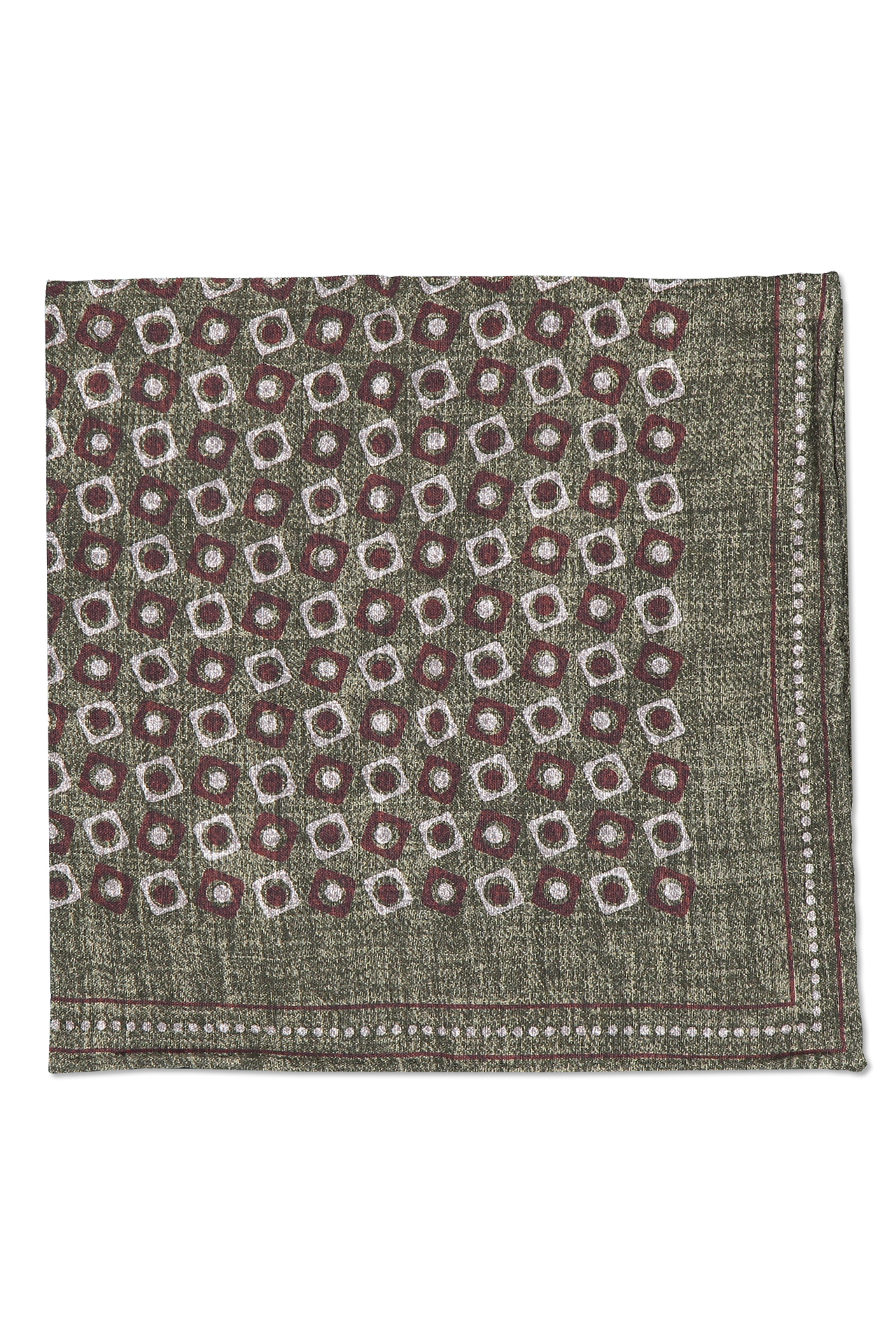Front detail image of Brunello Cucinelli Men's Pocket Square Army Green
