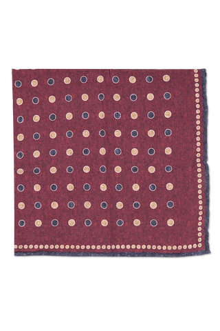 Front view detail image of Brunello Cucinelli Men's Pocket Square Bordeaux