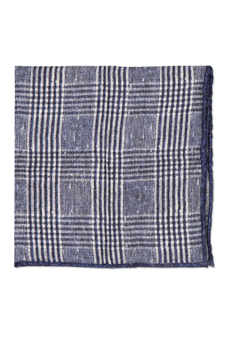 Front detail image of Brunello Cucinelli Men's Pocket Square Dark Blue Plaid