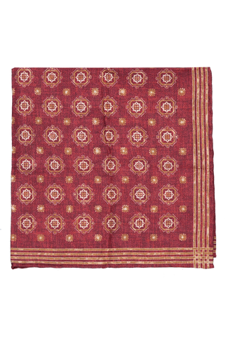 Front detail image of Brunello Cucinelli Pocket Square Dark Red With Pattern