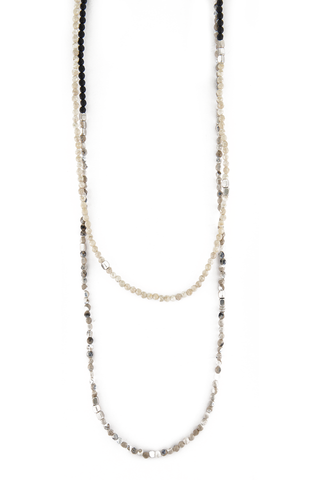 Brunello Cucinelli Riverstone Steel Beaded Wrap Necklace