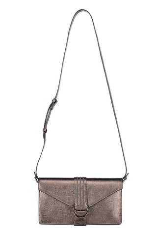 Front view with strap image of Brunello Cucinelli Women's Shiny Leather Shoulder Bag