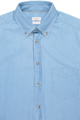 Long Sleeve Chambray Shirt In Light Wash