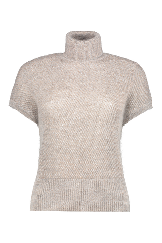 Front view image of Brunello Cucinelli Women's Short Sleeve Turtleneck Sweater