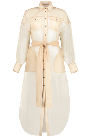 Front view image of Brunello Cucinelli Silk Chiffon Long Belted Jacket