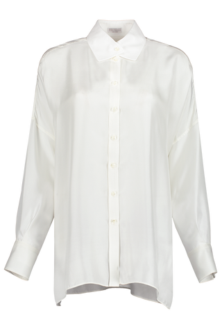 Silk Sequin Collarless Blouse	White