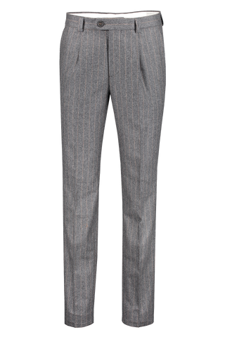 Front view image of Brunello Cucinelli Men's Stripe Single Pleat Leisure Trouser Grigio