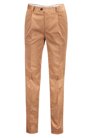 Front view image of Brunello Cucinelli One Pleat Leisure Corduroy Pants Camel