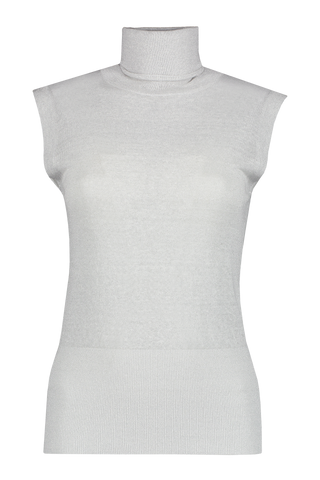 Front view image of Brunello Cucinelli Women's Sleeveless Lurex Turtleneck Top White