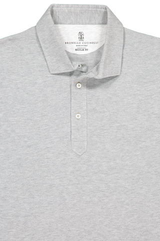 Front collar detail image of Brunello Cucinelli Men's Spread Collar Pique Polo