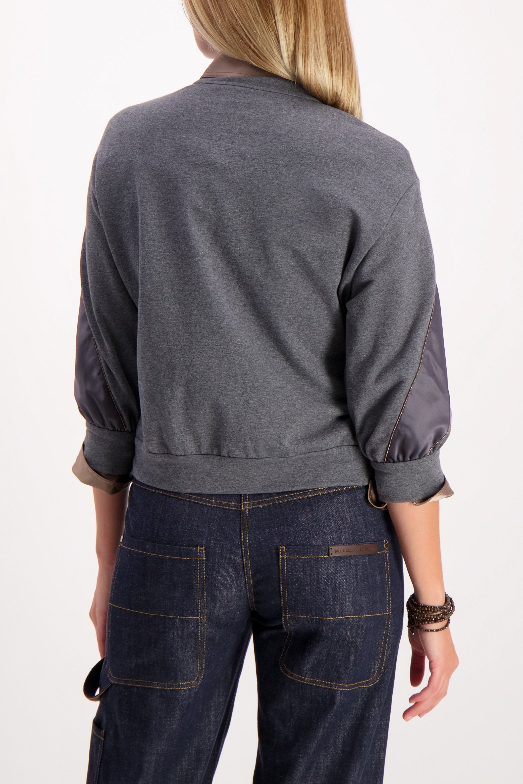 Back Crop Image Of Model Wearing Cucinelli Stripe Crewneck Sweatshirt