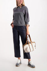 Full Body Image Of Model Wearing Cucinelli Stripe Crewneck Sweatshirt