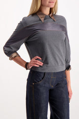 Front Crop Image Of Model Wearing Cucinelli Stripe Crewneck Sweatshirt