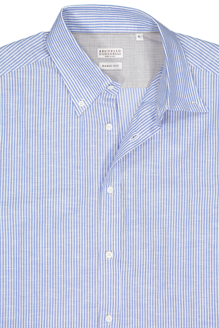 Collar Detail Image Of Brunello Cucinelli Stripe Long Sleeve Shirt