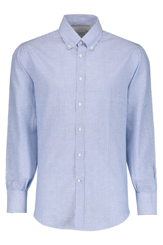 Front Image Of Brunello Cucinelli Stripe Long Sleeve Shirt