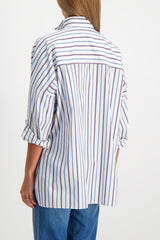 Back Crop Image Of Model Wearing Brunello Cucinelli Women's Striped Rolled Sleeve Tunic