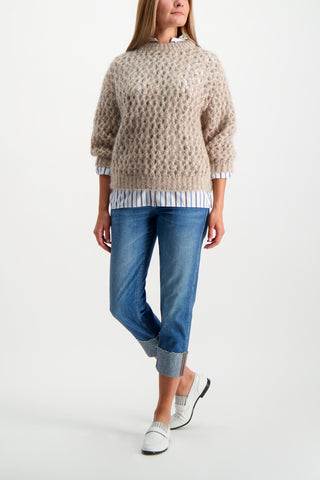 Full Body Image Of Model Wearing Brunello Cucinelli Women's Striped Rolled Sleeve Tunic