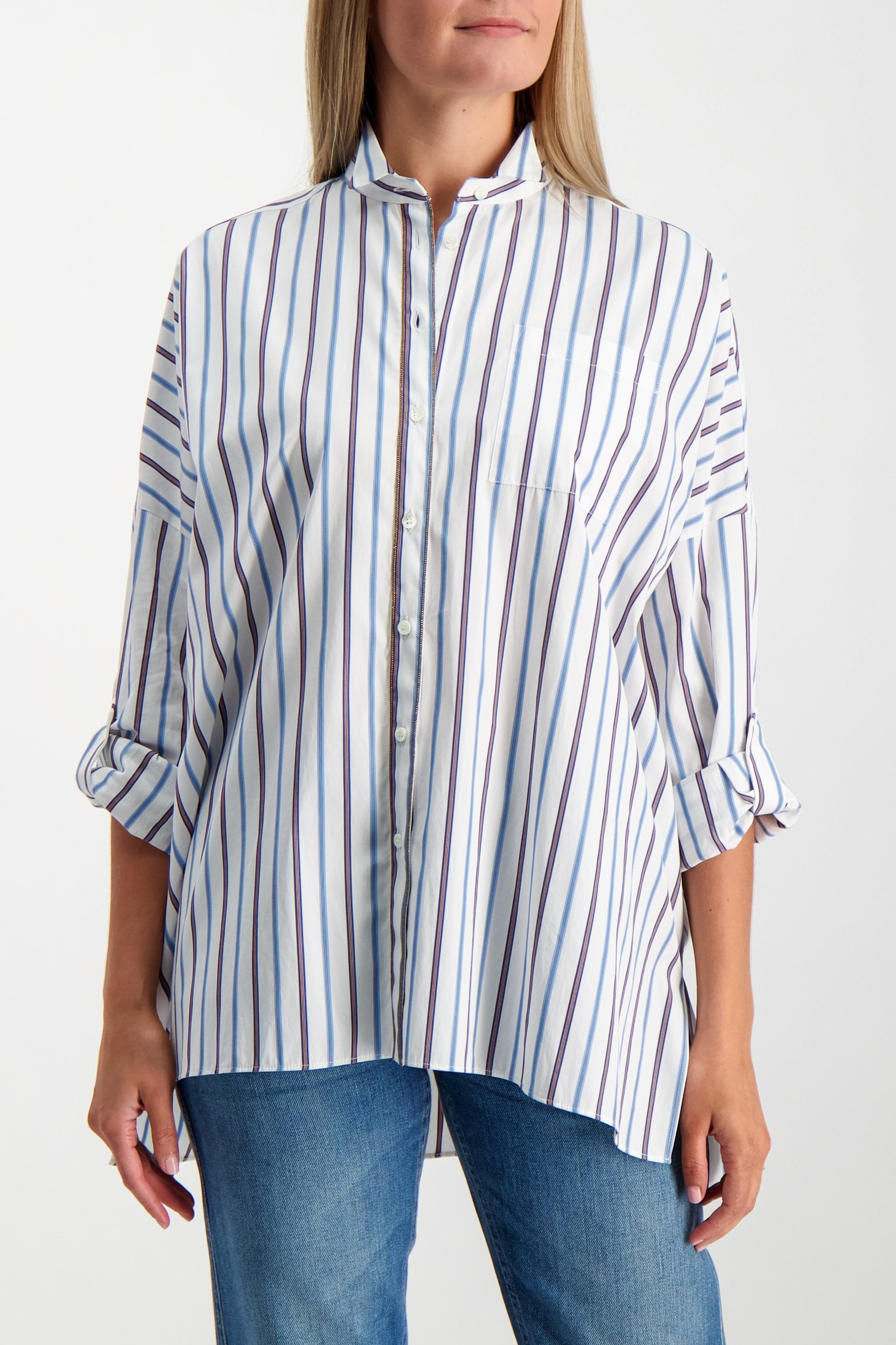 Front Crop Image Of Model Wearing Brunello Cucinelli Women's Striped Rolled Sleeve Tunic