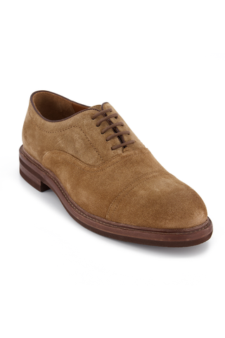 Front angled view image of Brunello Cucinelli Suede Cap-Toe With Interior Strap