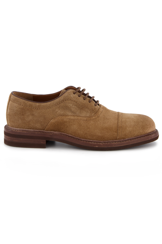 Side view image of Brunello Cucinelli Suede Cap-Toe With Interior Strap