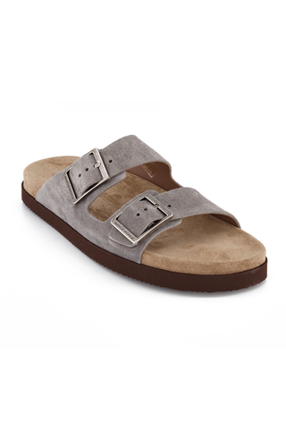 Front angled view image of Brunello Cucinelli Suede German Style Sandal Grey