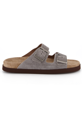 Side view image of Brunello Cucinelli Suede German Style Sandal Grey