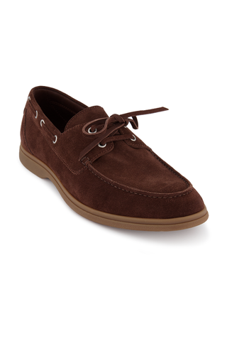 Front angled view image of Brunello Cucinelli Suede Loafer Brown