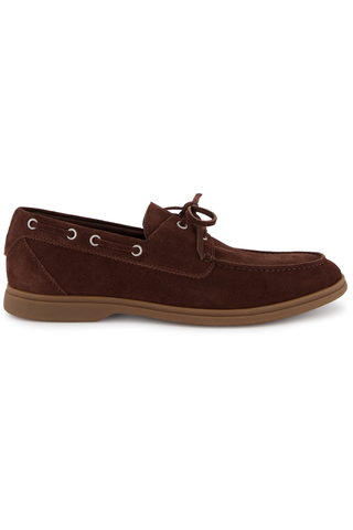 Side view image of Brunello Cucinelli Suede Loafer Brown
