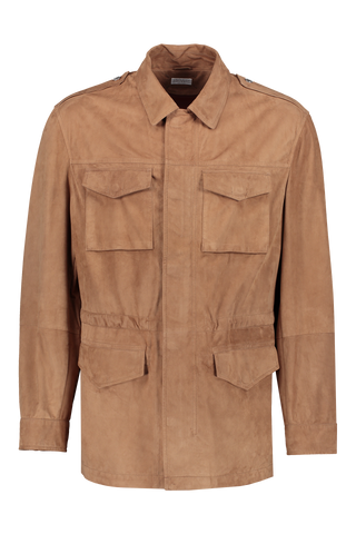 Front view image of Brunello Cucinelli Suede Safari Jacket With Nappa Leather Camoscio Terra