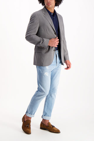 Full Body Image Of Model Wearing Cucinelli Stock Travel Blazer Grey
