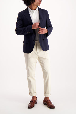 Full Body Image Of Model Wearing Cucinelli Stock Travel Blazer Navy