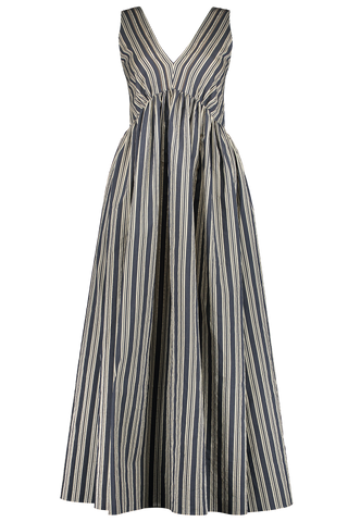 Women's Stripe V-Neck Maxi Dress Blue