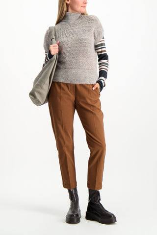 Full Body Image Of Model Wearing Brunello Cucinelli Women's Wool Cashmere Striped Shirt
