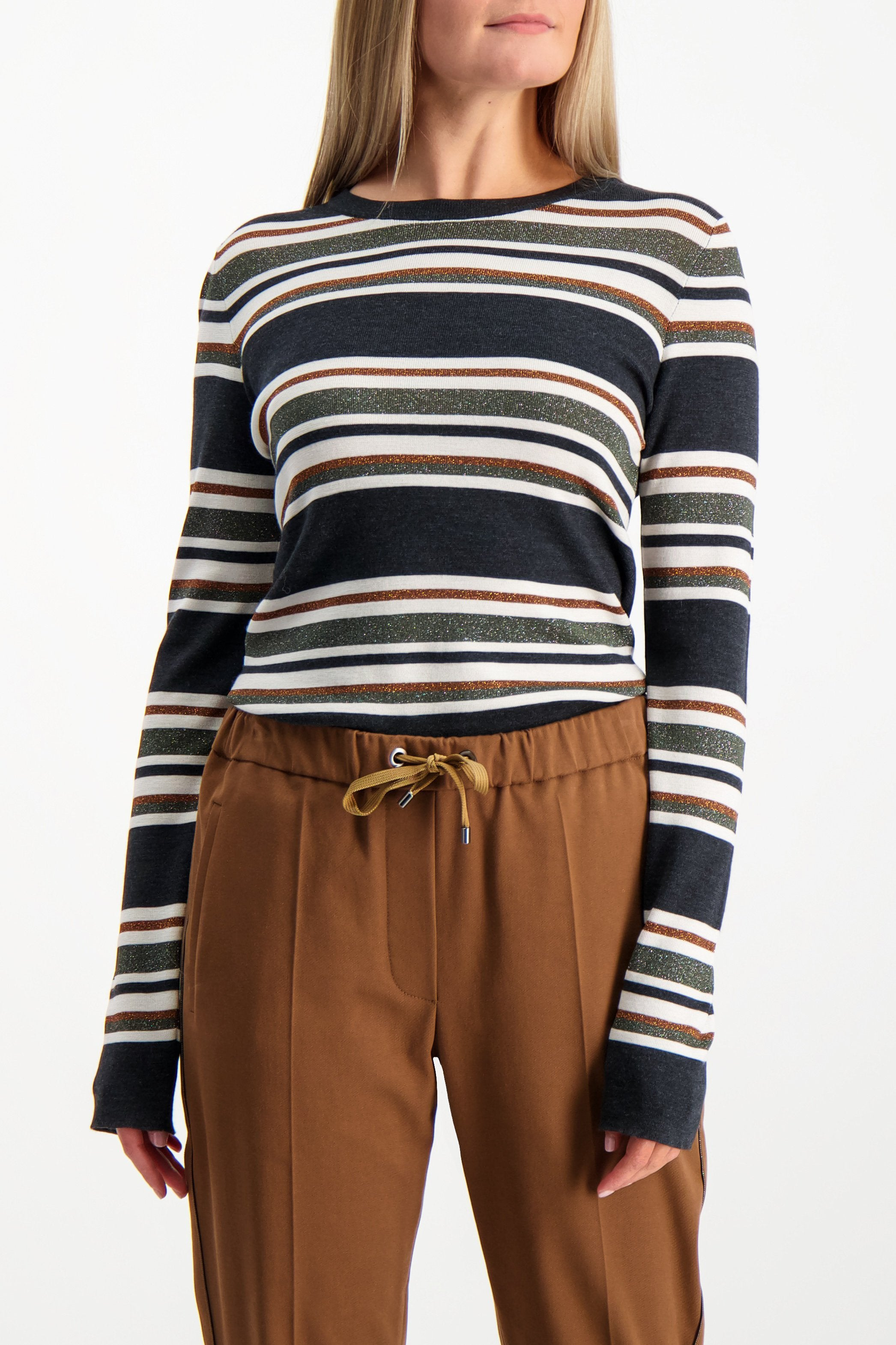 Front Crop Image Of Model Wearing Brunello Cucinelli Women's Wool Cashmere Striped Shirt