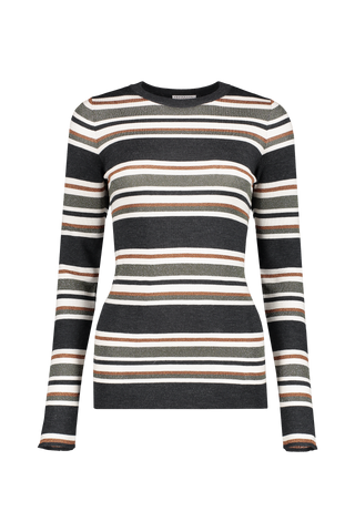 Front view image of Brunello Cucinelli Women's Wool Cashmere Striped Shirt